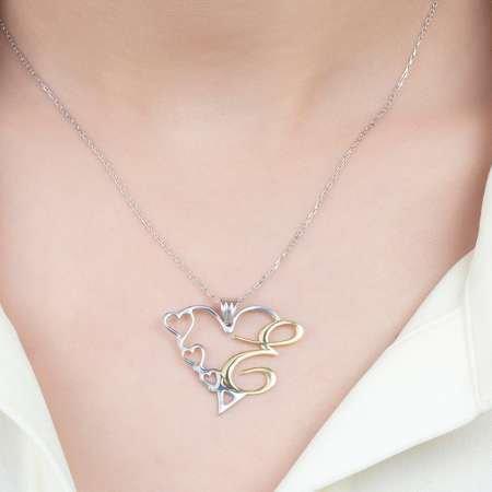 Kişiye Özel Harf Yazılı 925 Ayar Gümüş Bayan Kalp Kolye - Thumbnail