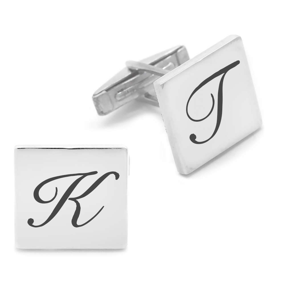 Kişiye Özel Harf Yazılı Kare Tasarım 925 Ayar Gümüş Kol Düğmesi