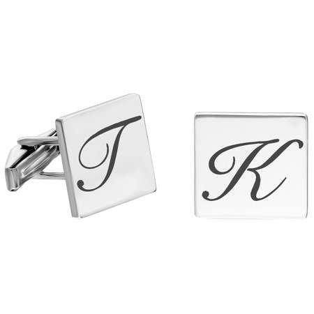 Kişiye Özel Harf Yazılı Kare Tasarım 925 Ayar Gümüş Kol Düğmesi - Thumbnail