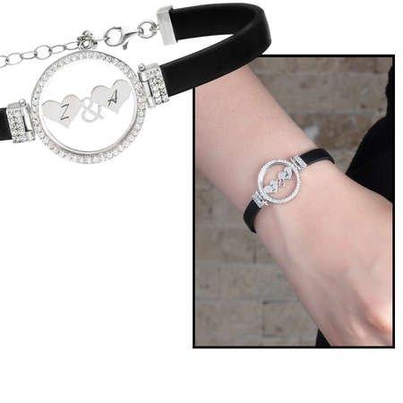 Kişiye Özel Harf Yazılı Zirkon Taşlı 925 Ayar Gümüş Bayan Bileklik - Thumbnail