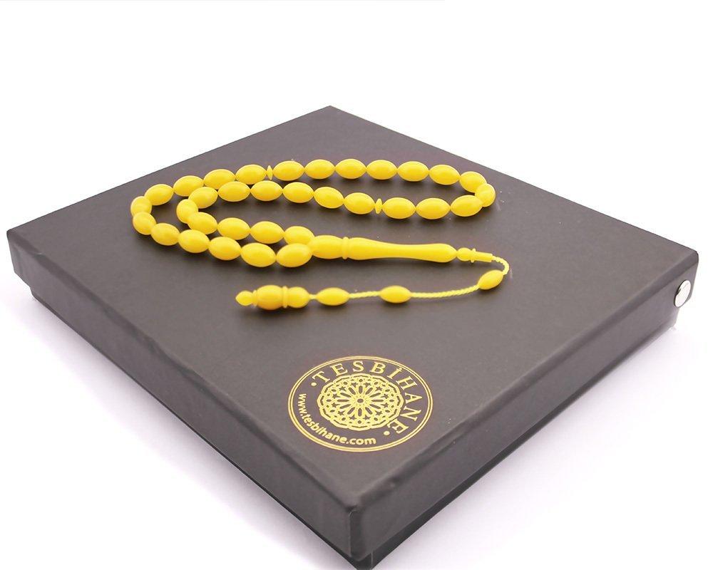 Kişiye Özel Hediye Kutulu Yedek İmame Habbeli Sarı Sıkma Kehribar Tesbih