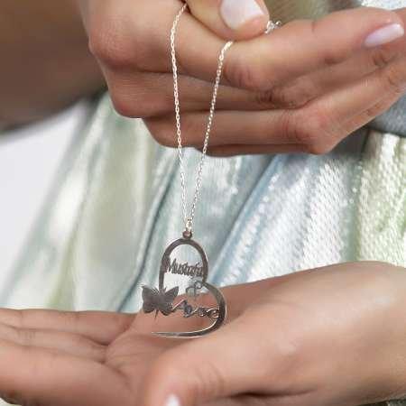 Kişiye Özel İsim/Tarih Yazılı 925 Ayar Gümüş Kelebek-Kalp Kolye - Thumbnail