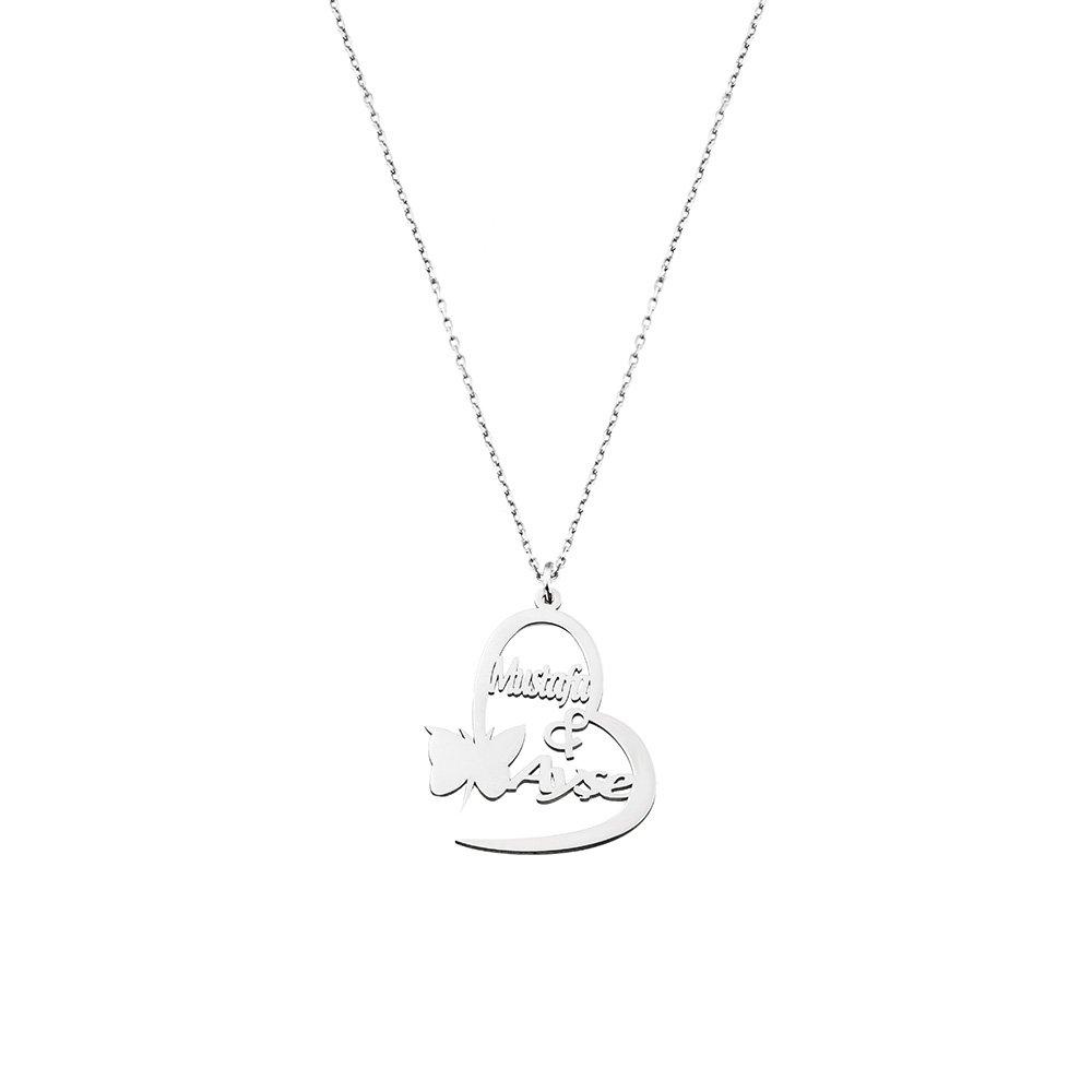 Kişiye Özel İsim/Tarih Yazılı 925 Ayar Gümüş Kelebek-Kalp Kolye