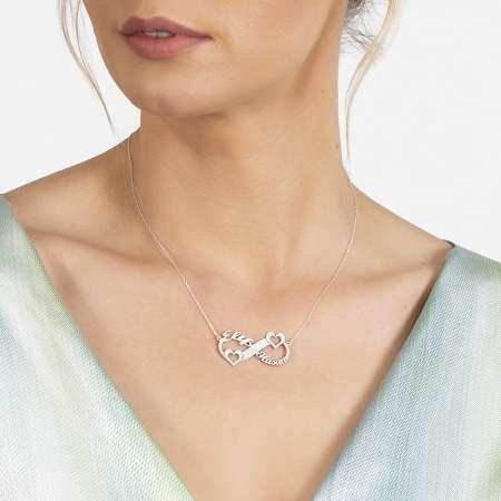 Kişiye Özel İsim/Tarih Yazılı 925 Ayar Gümüş Sonsuzluk-Kalp Kolye - Thumbnail