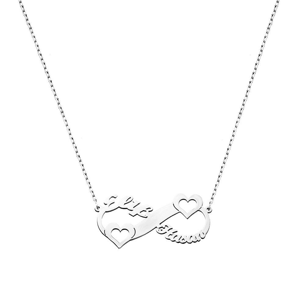 Kişiye Özel İsim/Tarih Yazılı 925 Ayar Gümüş Sonsuzluk-Kalp Kolye