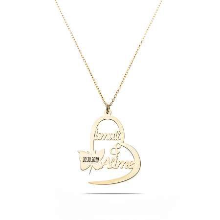 Kişiye Özel İsim/Tarih Yazılı Gold Renk 925 Ayar Gümüş Kelebek-Kalp Kolye - Thumbnail