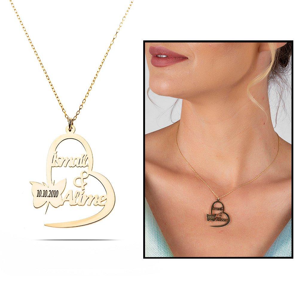 Kişiye Özel İsim/Tarih Yazılı Gold Renk 925 Ayar Gümüş Kelebek-Kalp Kolye