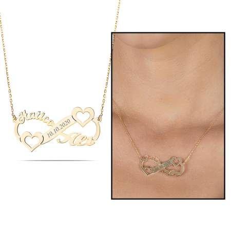 Kişiye Özel İsim/Tarih Yazılı Gold Renk 925 Ayar Gümüş Sonsuzluk-Kalp Kolye - Thumbnail