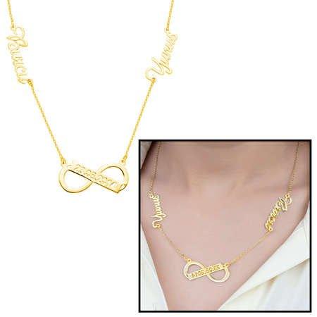 Kişiye Özel İsim/Tarih Yazılı Gold Renk 925 Ayar Gümüş Sonsuzluk Kolye - Thumbnail