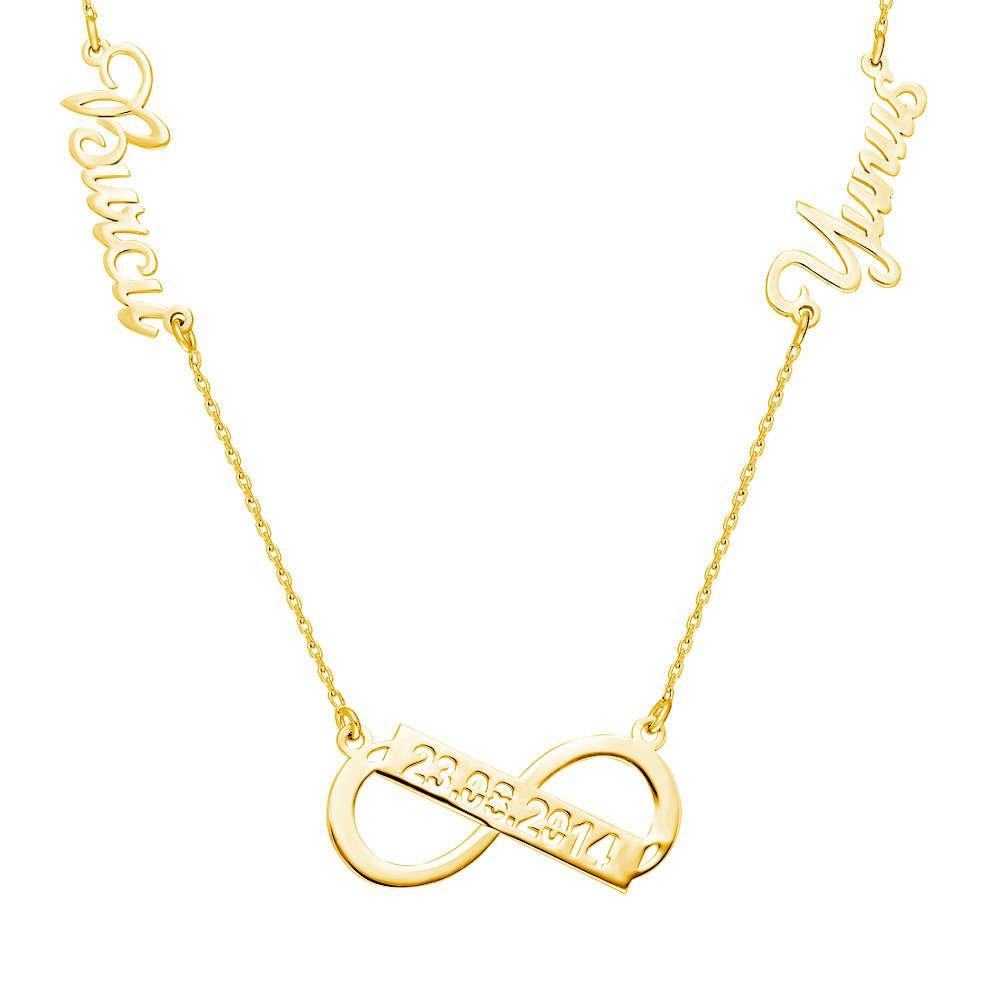 Kişiye Özel İsim/Tarih Yazılı Gold Renk 925 Ayar Gümüş Sonsuzluk Kolye