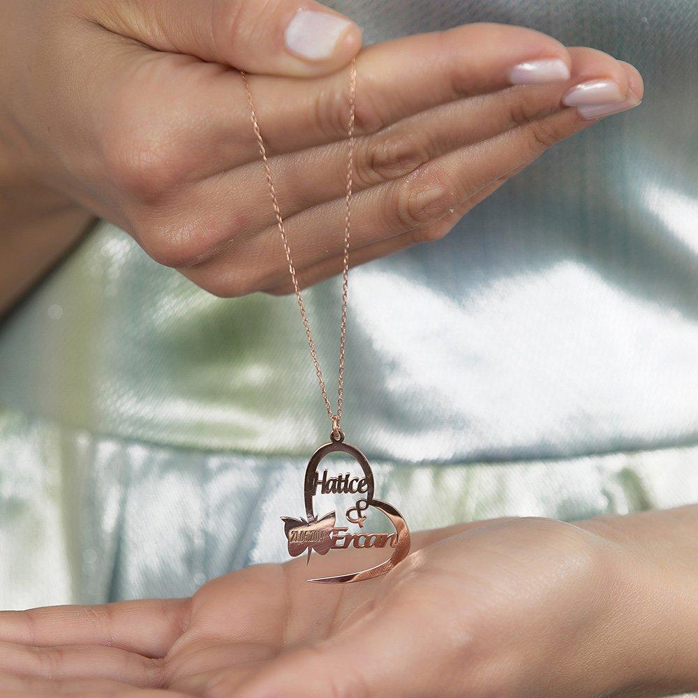 Kişiye Özel İsim/Tarih Yazılı Rose Renk 925 Ayar Gümüş Kelebek-Kalp Kolye