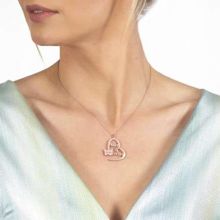 Kişiye Özel İsim/Tarih Yazılı Rose Renk 925 Ayar Gümüş Kelebek-Kalp Kolye - Thumbnail