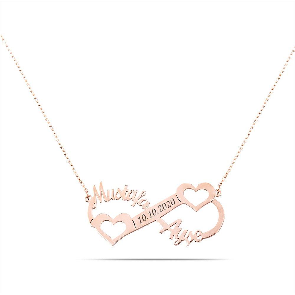 Kişiye Özel İsim/Tarih Yazılı Rose Renk 925 Ayar Gümüş Sonsuzluk-Kalp Kolye