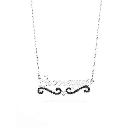 Kişiye Özel İsim Yazılı 925 Ayar Gümüş Bayan Kolye - Thumbnail