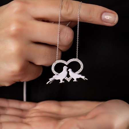 Kişiye Özel İsim Yazılı 925 Ayar Gümüş Kalp-Güvercin Kolye - Thumbnail