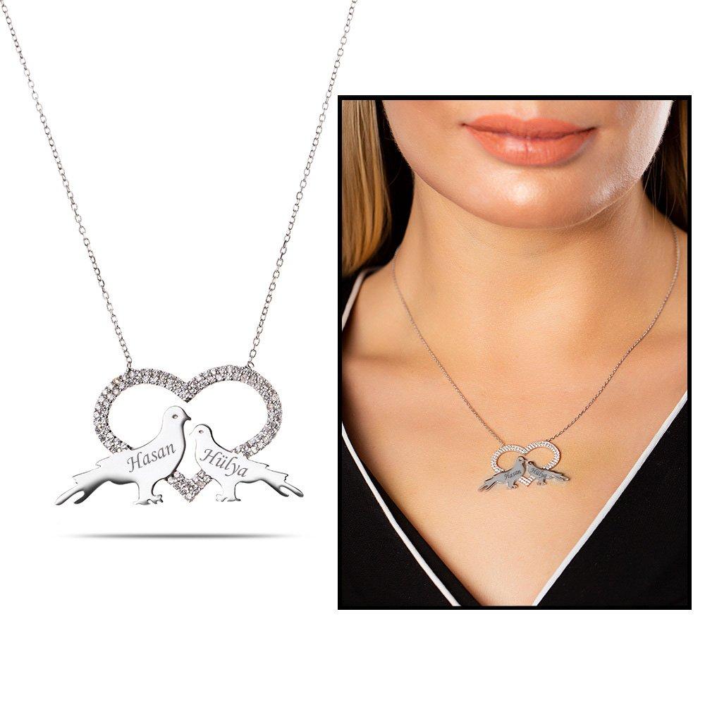 Kişiye Özel İsim Yazılı 925 Ayar Gümüş Kalp-Güvercin Kolye