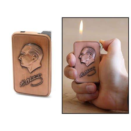 Kişiye Özel İsim Yazılı Atatürk Temalı Eskitme Bakır Renk Manyotorlu Metal Çakmak - Thumbnail