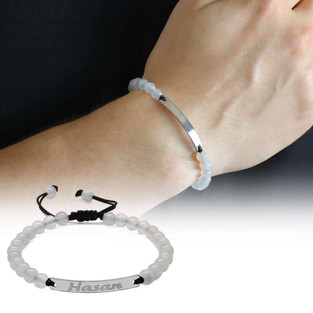 Kişiye Özel İsim Yazılı Beyaz Akik Doğaltaş Çelik Kombinli Unisex Bileklik
