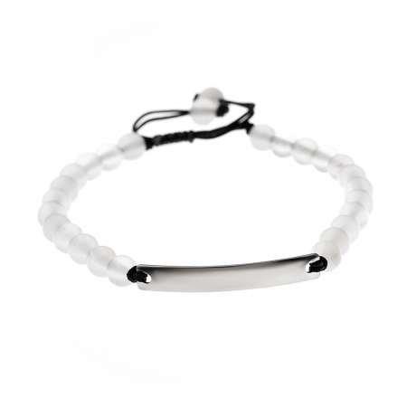 Kişiye Özel İsim Yazılı Beyaz Akik Doğaltaş Çelik Kombinli Unisex Bileklik - Thumbnail