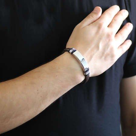 Kişiye Özel İsim Yazılı Çelik-Deri Kombinli Bileklik(Kahve-Siyah) - Thumbnail