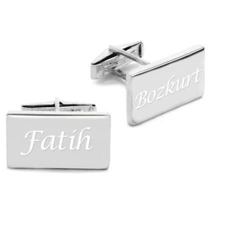 Kişiye Özel İsim Yazılı Dörtgen Tasarım 925 Ayar Gümüş Kol Düğmesi - Thumbnail