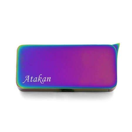 Kişiye Özel İsim Yazılı Dörtgen Tasarım Deep Blue Renk Manyotorlu Metal Çakmak - Thumbnail
