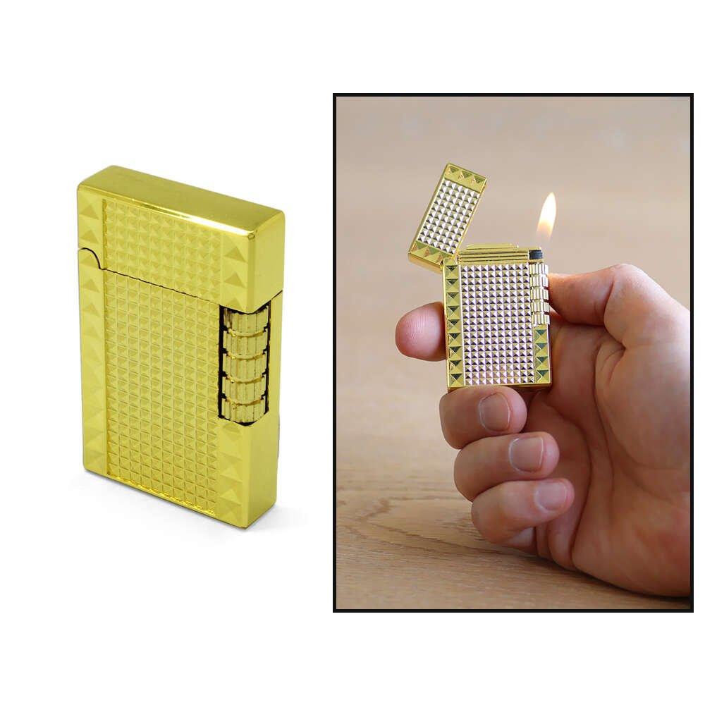 Kişiye Özel İsim Yazılı Dupont Tasarım Zenit Mekanizmalı Sarı Renk Taşlı Metal Çakmak