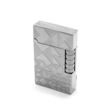 Kişiye Özel İsim Yazılı Dupont Tasarım Zenit Mekanizmalı Üzeri İşlemeli Gümüş Renk Taşlı Metal Çakmak - Thumbnail