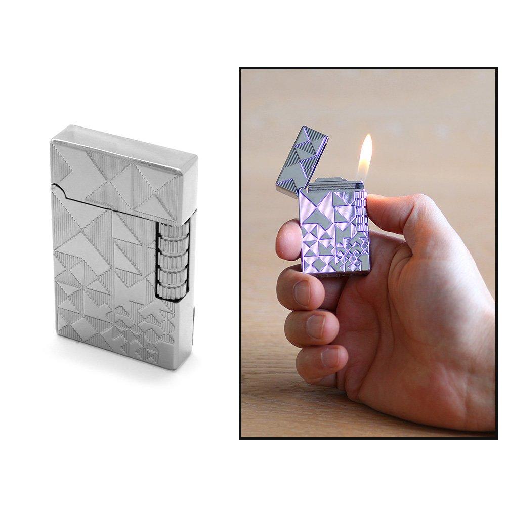 Kişiye Özel İsim Yazılı Dupont Tasarım Zenit Mekanizmalı Üzeri İşlemeli Gümüş Renk Taşlı Metal Çakmak