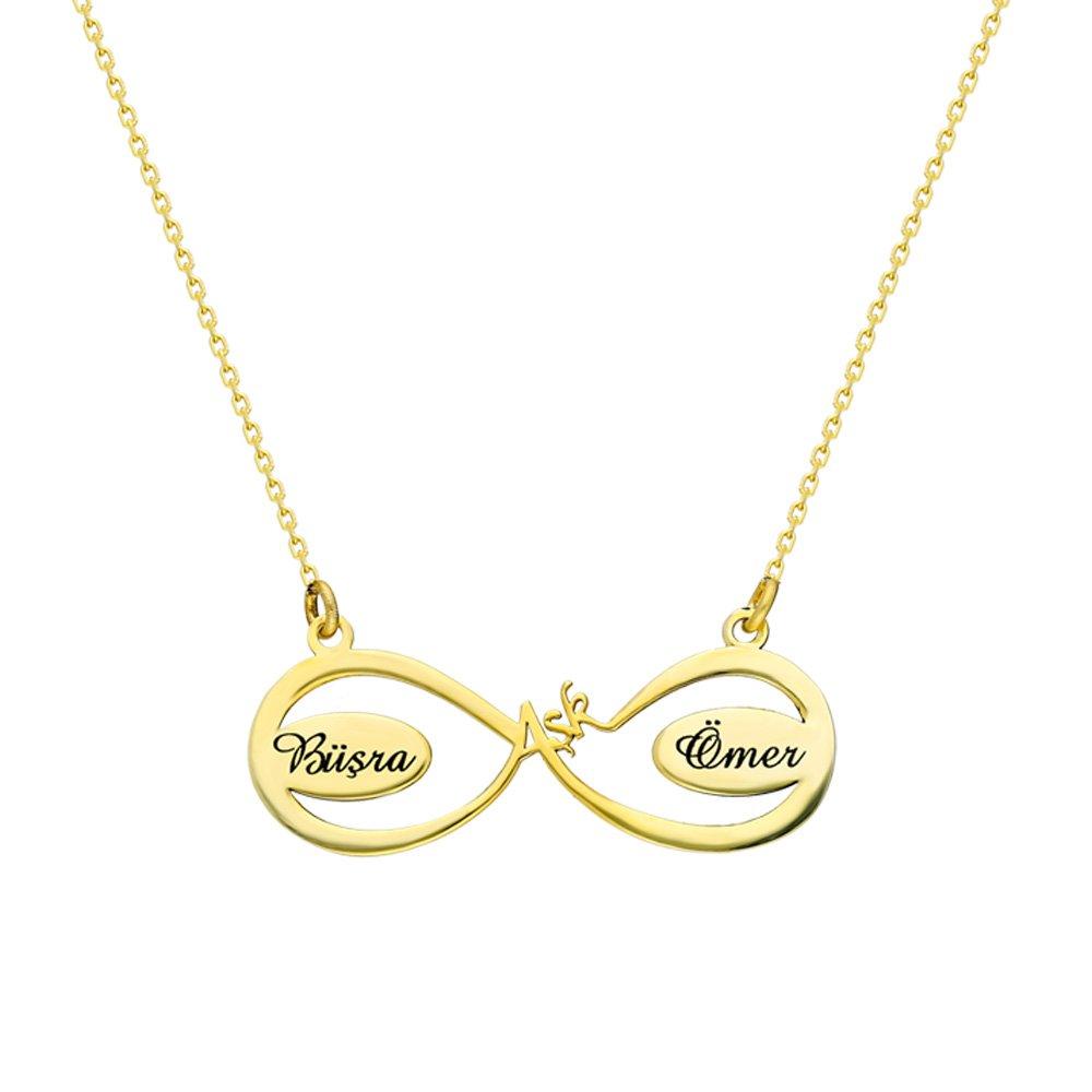 Kişiye Özel İsim Yazılı Gold Renk 925 Ayar Gümüş Aşk-Sonsuzluk Kolye