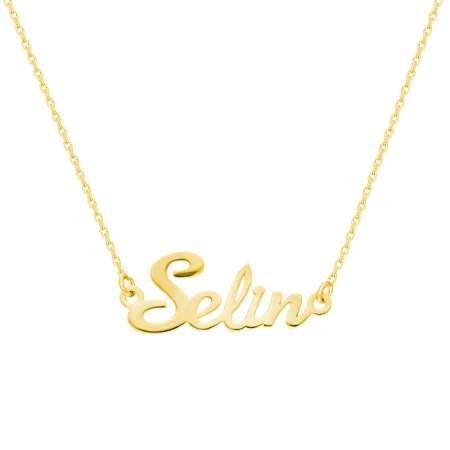Kişiye Özel İsim Yazılı Gold Renk 925 Ayar Gümüş Bayan Kolye - Thumbnail