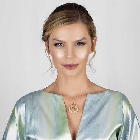 Kişiye Özel İsim Yazılı Gold Renk 925 Ayar Gümüş Bayan Üç Damla Kolye - Thumbnail