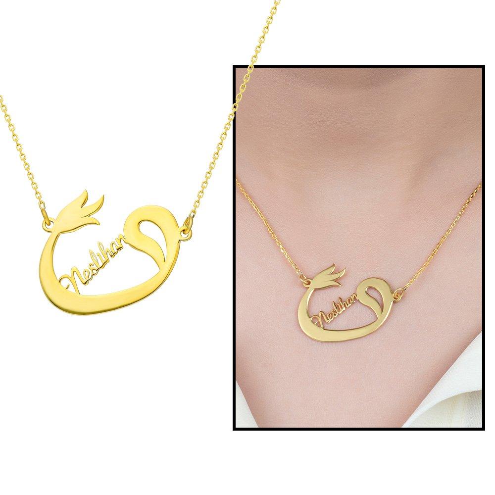 Kişiye Özel İsim Yazılı Gold Renk 925 Ayar Gümüş Bayan Vav-Lale Kolye