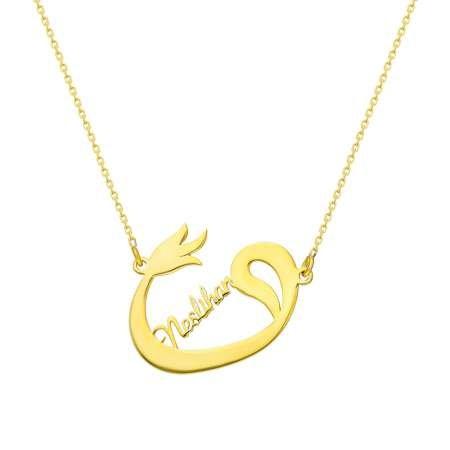 Kişiye Özel İsim Yazılı Gold Renk 925 Ayar Gümüş Bayan Vav-Lale Kolye - Thumbnail