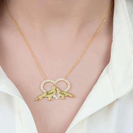 Kişiye Özel İsim Yazılı Gold Renk 925 Ayar Gümüş Kalp-Güvercin Kolye - Thumbnail