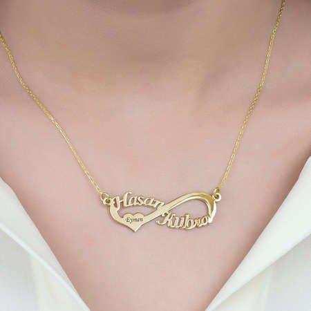 Kişiye Özel İsim Yazılı Gold Renk 925 Ayar Gümüş Sonsuzluk Kolye - Thumbnail