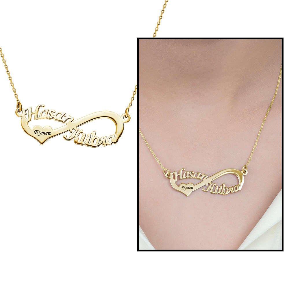Kişiye Özel İsim Yazılı Gold Renk 925 Ayar Gümüş Sonsuzluk Kolye