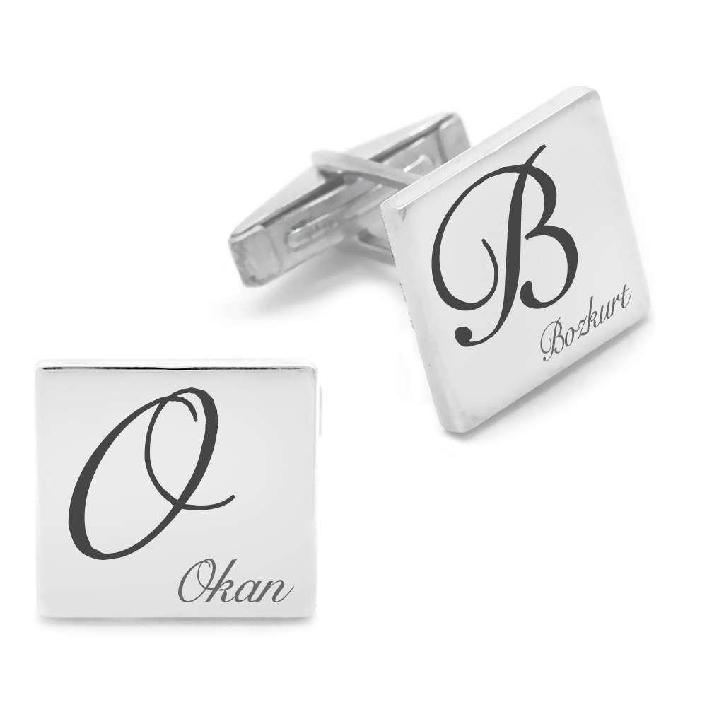 Kişiye Özel İsim Yazılı Kare Tasarım 925 Ayar Gümüş Kol Düğmesi