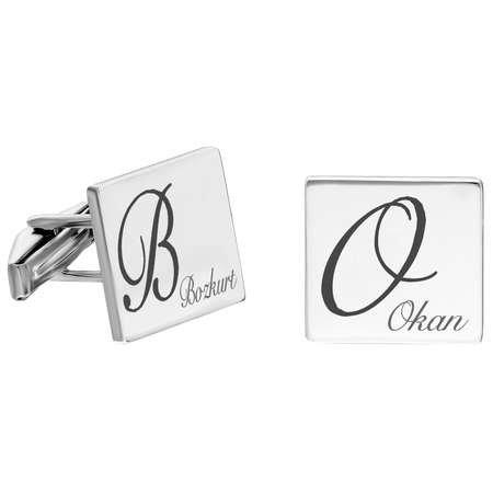 Kişiye Özel İsim Yazılı Kare Tasarım 925 Ayar Gümüş Kol Düğmesi - Thumbnail
