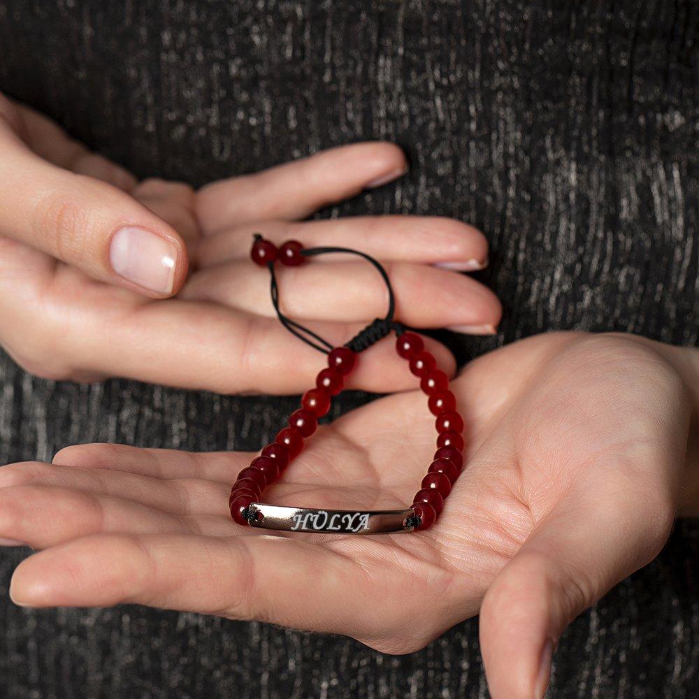 Kişiye Özel İsim Yazılı Kırmızı Akik Doğaltaş Çelik Kombinli Unisex Bileklik
