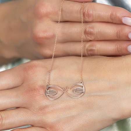 Kişiye Özel İsim Yazılı Rose Renk 925 Ayar Gümüş Aşk-Sonsuzluk Kolye - Thumbnail