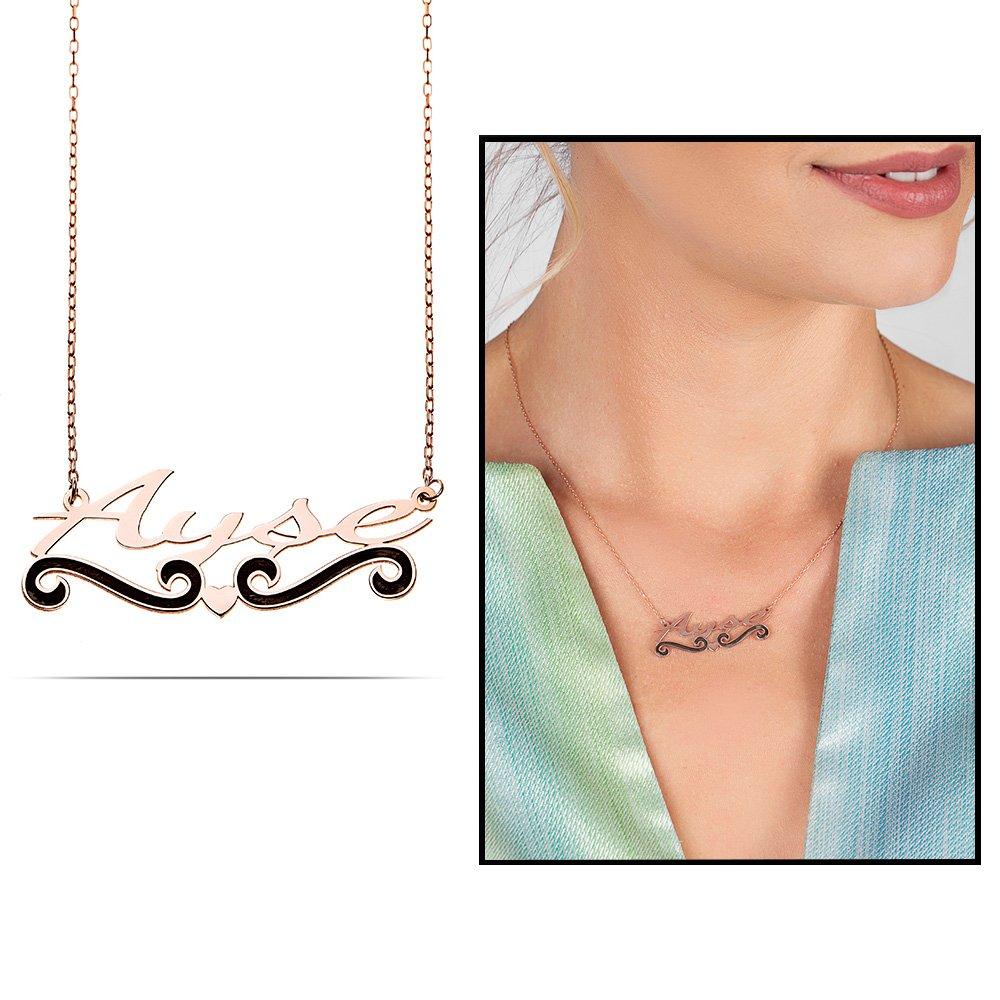 Kişiye Özel İsim Yazılı Rose Renk 925 Ayar Gümüş Bayan Kolye