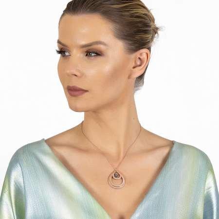 Kişiye Özel İsim Yazılı Rose Renk 925 Ayar Gümüş Bayan Üç Damla Kolye - Thumbnail