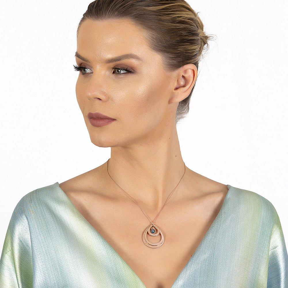Kişiye Özel İsim Yazılı Rose Renk 925 Ayar Gümüş Bayan Üç Damla Kolye