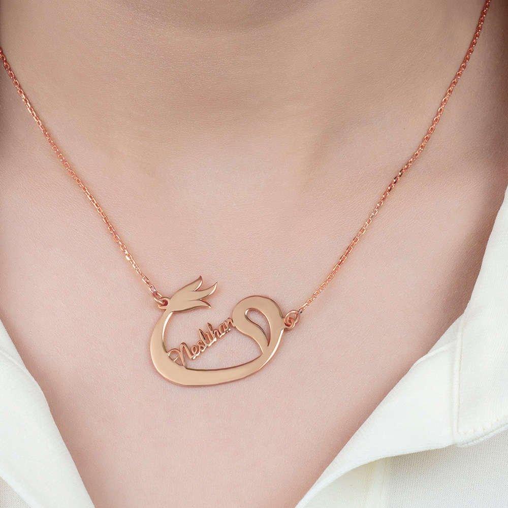 Kişiye Özel İsim Yazılı Rose Renk 925 Ayar Gümüş Bayan Vav-Lale Kolye