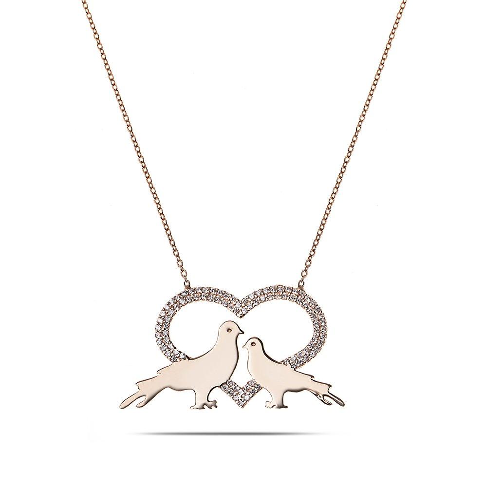 Kişiye Özel İsim Yazılı Rose Renk 925 Ayar Gümüş Kalp-Güvercin Kolye