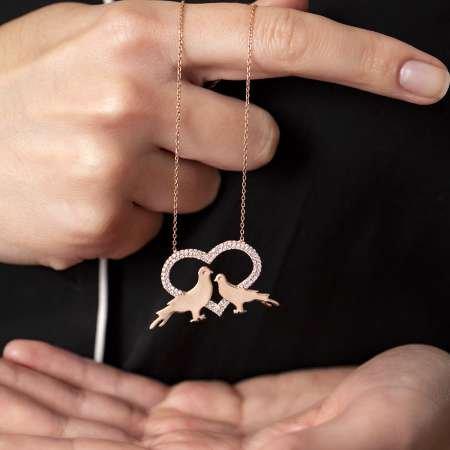 Kişiye Özel İsim Yazılı Rose Renk 925 Ayar Gümüş Kalp-Güvercin Kolye - Thumbnail