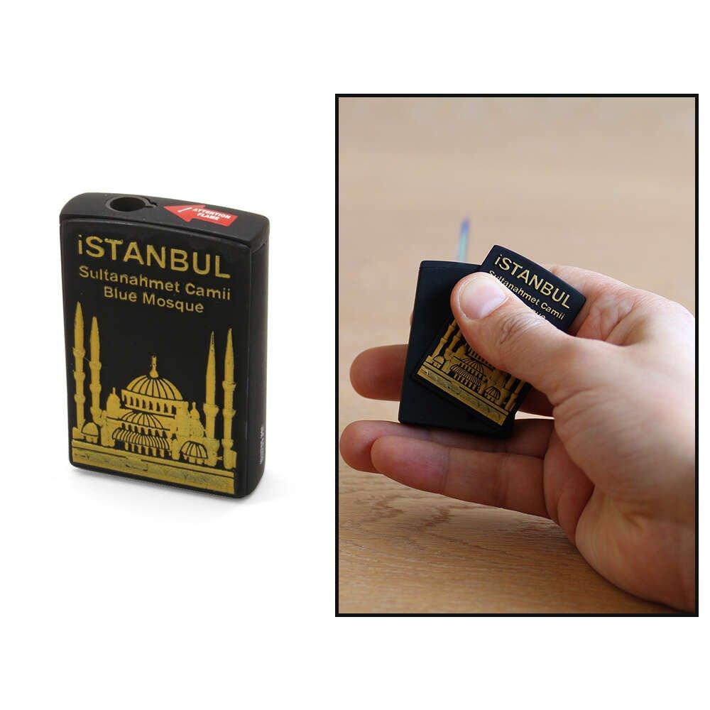 Kişiye Özel İsim Yazılı Sultan Ahmet Camii Temalı Yandan Mekanizmalı Mat Siyah Renk Manyotorlu Metal Çakmak
