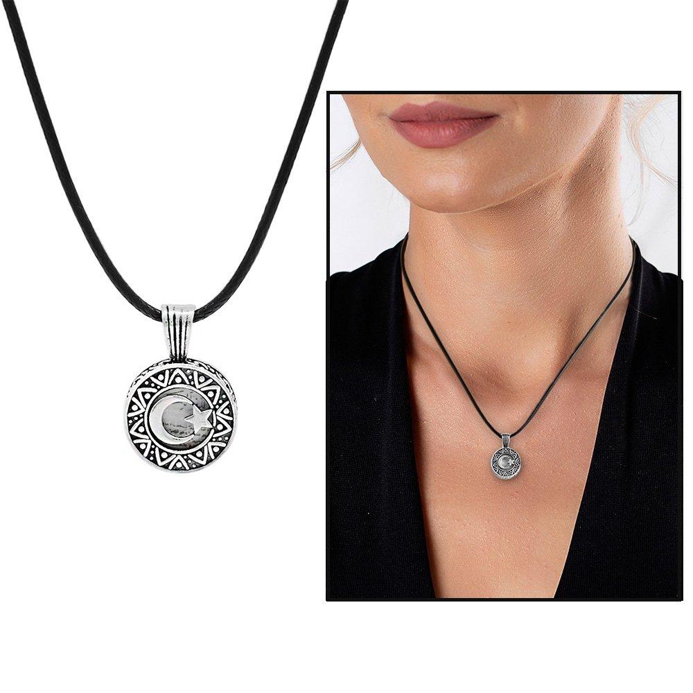 Kişiye Özel İsim Yazılı Üzeri Ayyıldız Temalı 925 Ayar Gümüş Cevşen Kolye