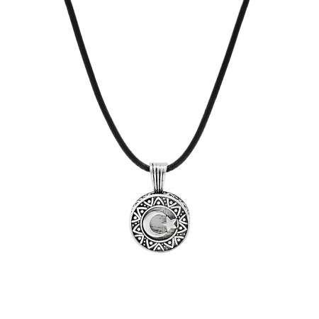 Kişiye Özel İsim Yazılı Üzeri Ayyıldız Temalı 925 Ayar Gümüş Cevşen Kolye - Thumbnail